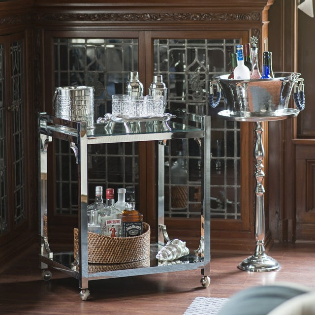Mid-Century Chrome Bar Cart - Image 5 of 6