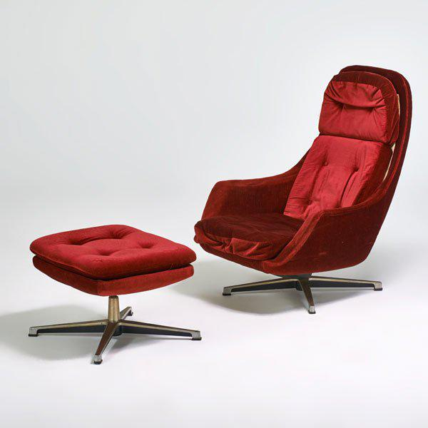 Overman Swivel Lounge Chair & Ottoman, Scandinavian Modern, Circa 1970 - Image 2 of 3