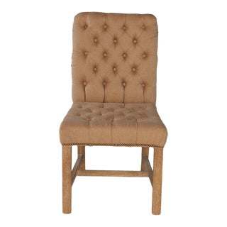 Sarreid Ltd Tufted Linen Side Chairs- A Pair