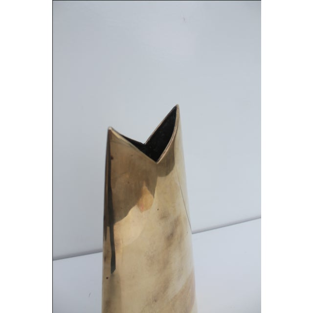 Geometric Brass Vase by J. Johnston - Image 4 of 7