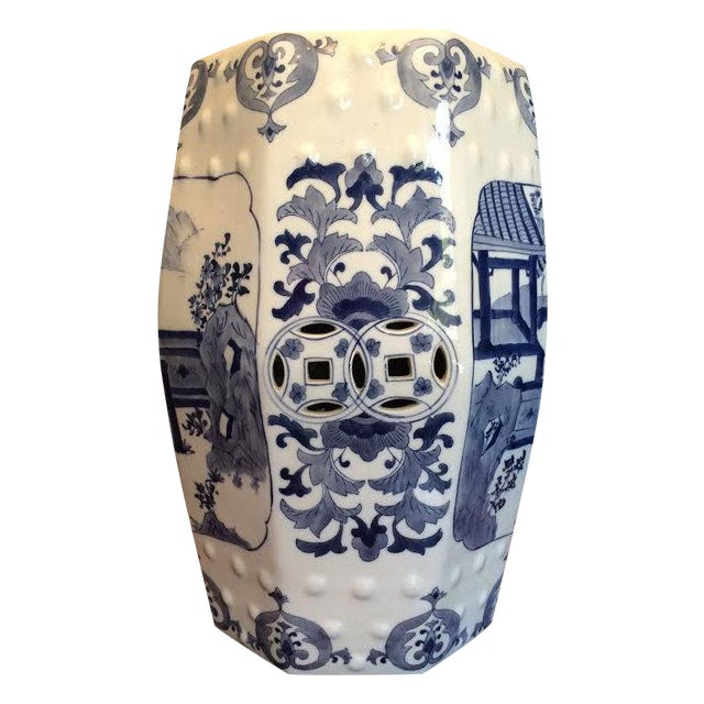 Chinoiserie Blue and White 8 Sided Garden Stool - Image 1 of 4