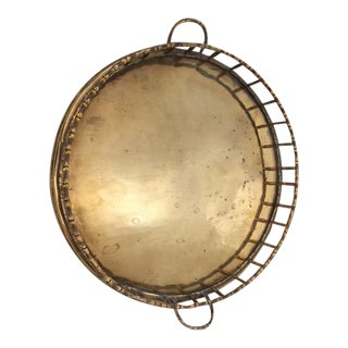 Faux Bamboo Round Brass Tray