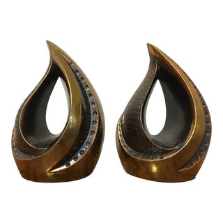 Ben Seibel for Jenfred Ware Flame Bookends - A Pair