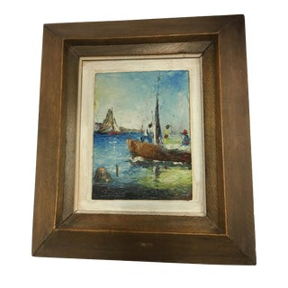 Framed Nautical Sailboat Painting