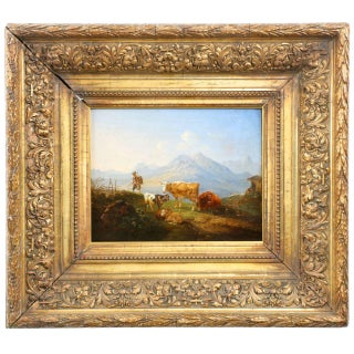 German School Mountainscape Sheep and Cattle Oil Painting, 19th Century