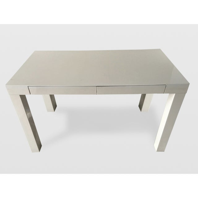 West Elm White Parsons Desk Chairish
