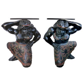 19th Century Carved Blackamoor Table Bases - A Pair