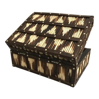 British Colonial Porcupine Quill Ebony Box