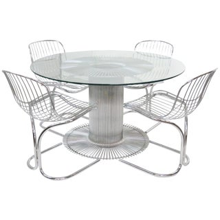 Bertoia Style Chrome & Glass Dining Table w/ 4 Chairs