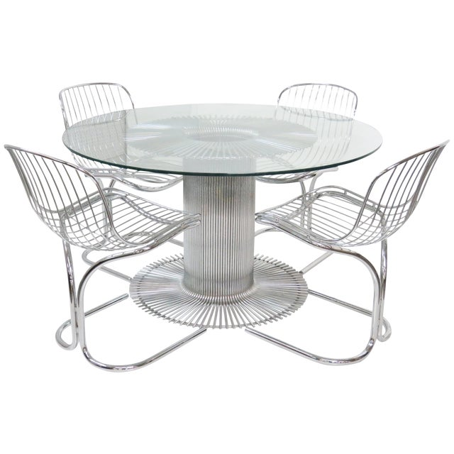 Bertoia Style Chrome Glass Dining Table W 4 Chairs Chairish