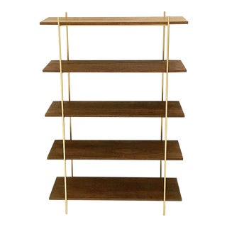 Walnut and Gold Bookshelf-Wall Unit
