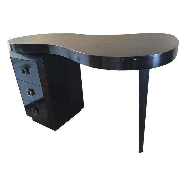 Mid Century Modern Black Desk - Image 1 of 5