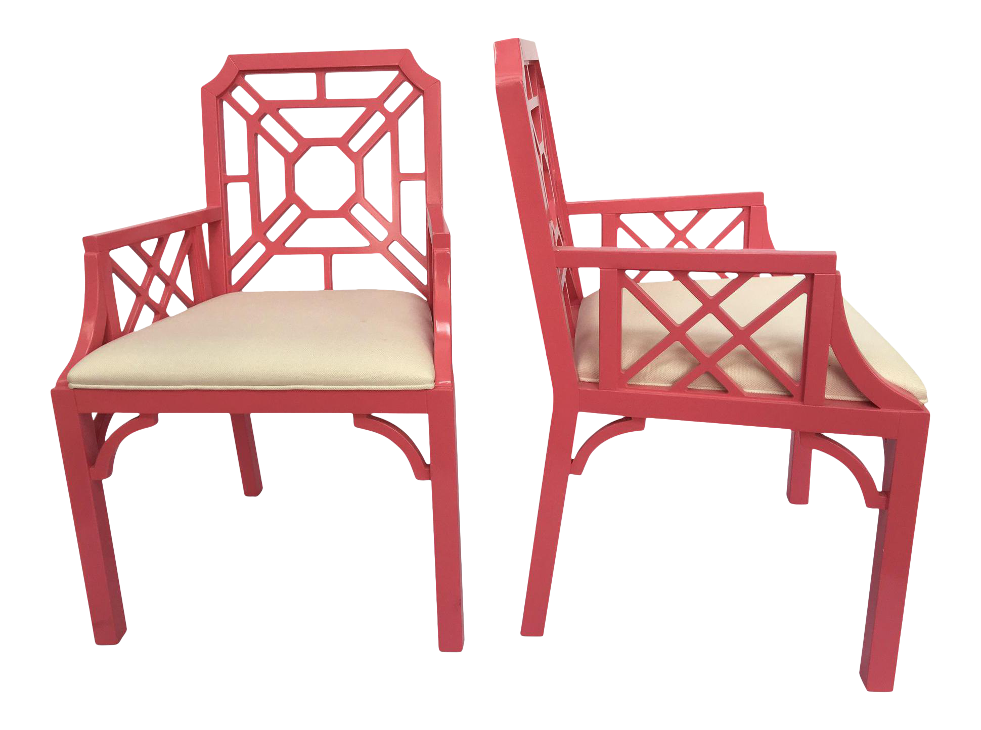 Lilly Pulitzer Pink Chinese Chippendale Chairs   A Pair