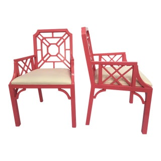 Lilly Pulitzer Pink Chinese Chippendale Chairs - A Pair