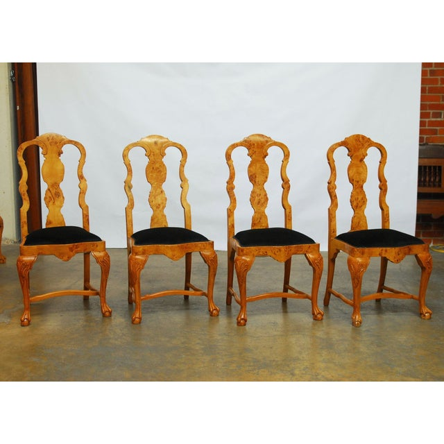 Burl Wood Queen Anne Dining Chairs - Set of 8 - Image 5 of 10