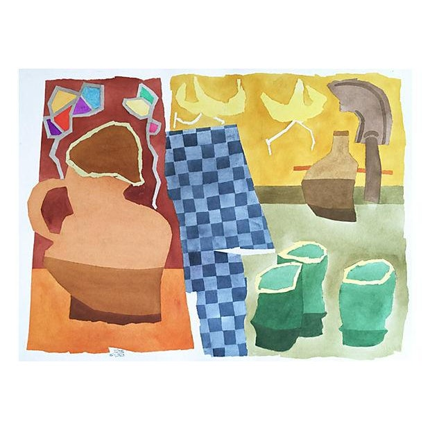 Modernist Still Life Watercolor Painting - Image 1 of 6