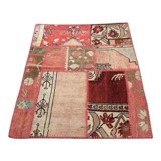 Turkish Vintage Overdyed Patchwork Oushak Rug - 3′1″ × 3′10″