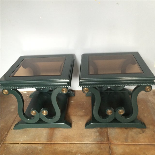Harp-Shape Lacquer Side Tables - A Pair - Image 3 of 9