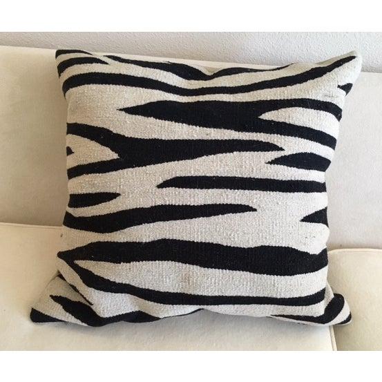 Black & Tan Zebra Stripe Rug Pillows - Pair