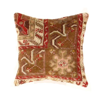 Vintage Hand-Knotted Orange Pasargad Pillow