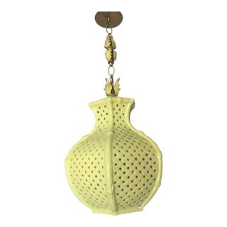 Mid-Century Chinoiserie Faux Bamboo Pierced Basketweave Pendant Lamp