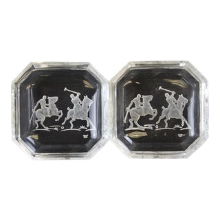 """Octagonal James II Baccarat Crystal """"Polo Player"""" Ashtrays - A Pair"""