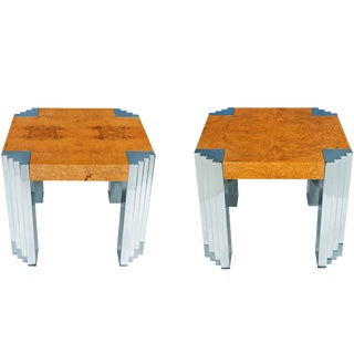 Pair of Olive Ash Burl Wood Side Tables by Pace