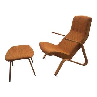 Vintage Grasshopper Chair and Ottoman by Saarinen