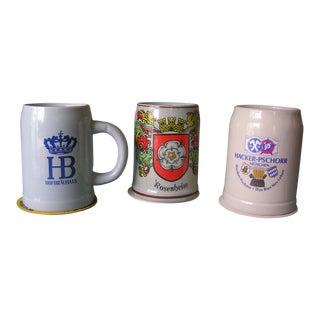 Vintage German Ceramic Beer Steins - Set of 3