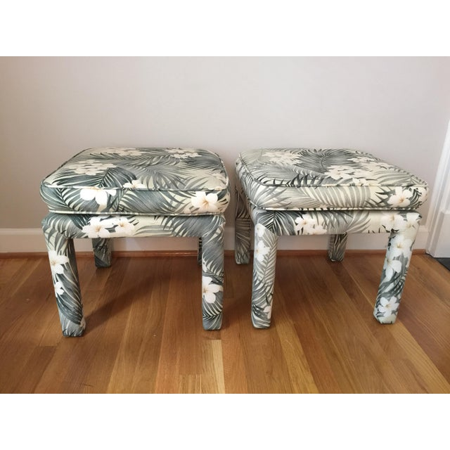 Parsons Stools With Palm Leaf Fabric - A Pair - Image 2 of 11