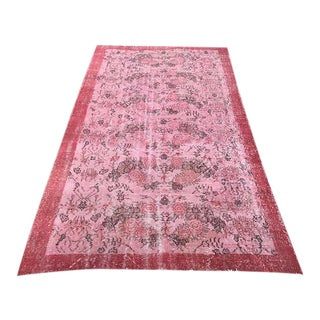 Turkish Pink Floral Rug - 4′11″ × 8′6″