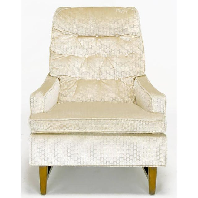 Pair of 1960s High Back Ivory Cut Velvet Lounge Chairs after Harvey Probber - Image 3 of 9