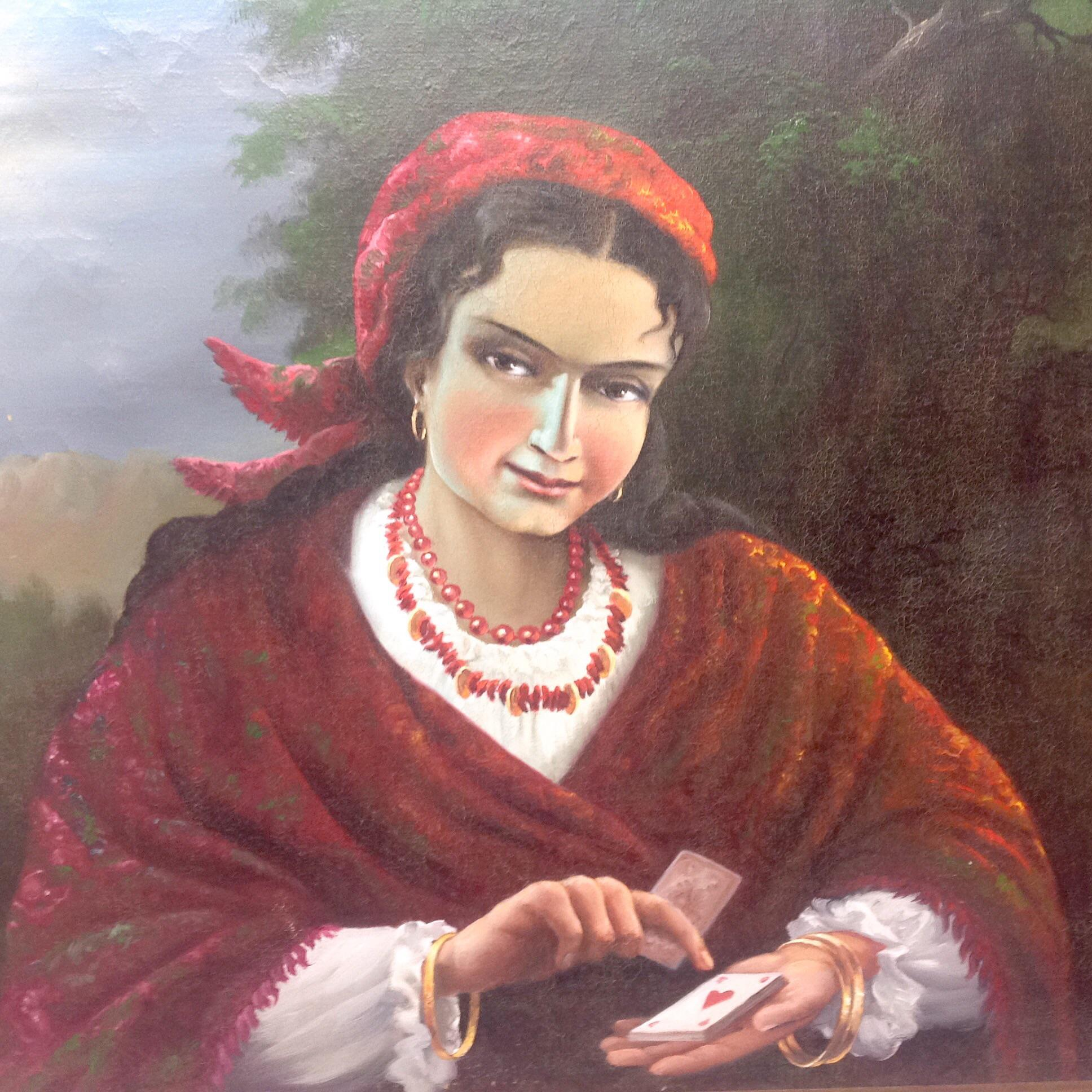 Gypsy Woman Painting Vintage Gypsy Woman Oi...