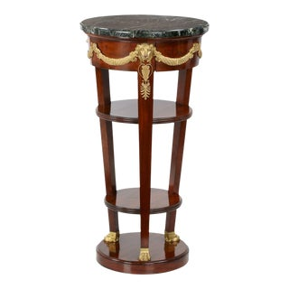 French Empire Style Marble Top Mahogany Side Table, Paris C. 1900