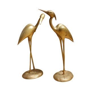 Hollywood Regency Brass Herons - A Pair