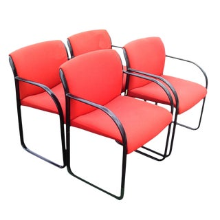 Steelcase Snodgrass Sled Base Bright Red Guess Chairs -Set of 4