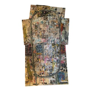 Large 6ft Tall Joe Strasser Collage on Wood and Canvas C. 2010