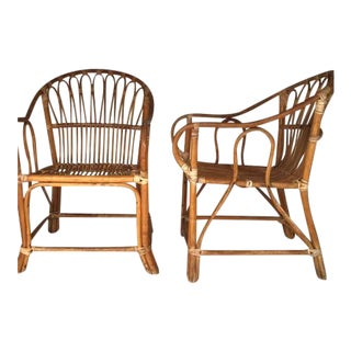 Franco Albini Style Mid-Century Bamboo Arm Chair - A Pair