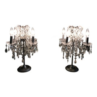 Restoration Hardware Manor Court Crystal Table Lamps - A Pair