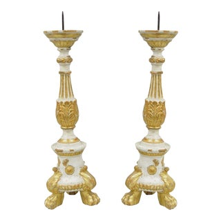 Antique Italian Neoclassical Carved Gilt Wood Candle Holders - a Pair
