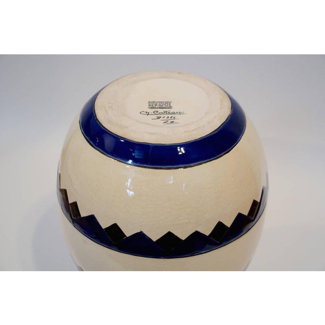 Rare Cobalt and Cream Charles Catteau Vase - Image 6 of 8
