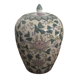 Antique Chinoiserie Asian Pink & Green Floral Ginger Jar W/ Lid
