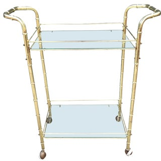 Brass Bar Cart with Bamboo Motif