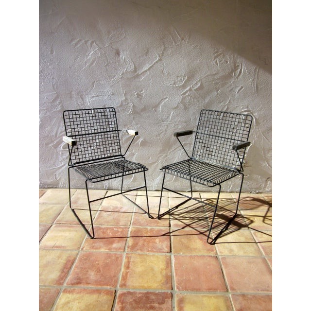 John Keal Style Modern Patio Iron Armchairs - Image 2 of 5