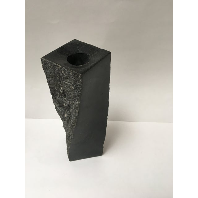 Image of Stone Black Abstract Candleholder Pedestal
