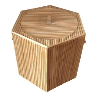 Mid-Century Large Reed Bamboo Ice Bucket