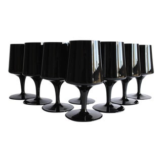 Mid-Century Black Glasses, Set of 8