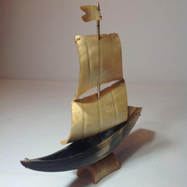 Image of Vintage Bone Boat Sculpture