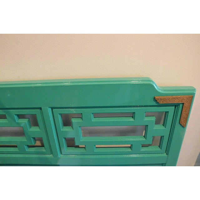 Lacquered Green Queen Fretwork Headboard - Image 2 of 5