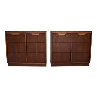 Mid-Century Modern Walnut Bachelor Chests - A Pair